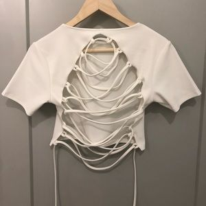 Misguided Crop Top with cross-back detail